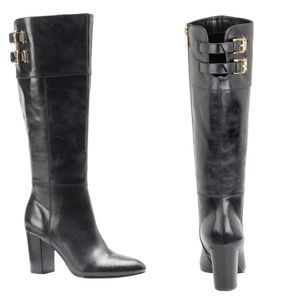 ISOLA Cerelia Tall Buckle Gray Black leather boots